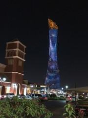 Aspire tower Torch Hotel lit up Doha Qatar Global High Performance visit to the Middle East