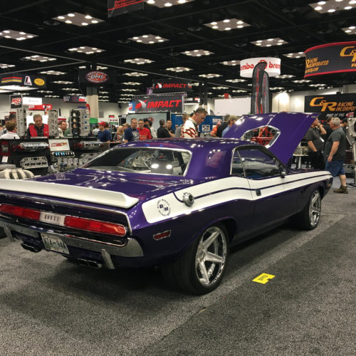 Ultra Violet 1970 dodge Challenger rear view PRI 2015