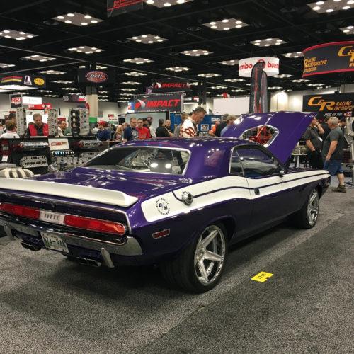 Ultra Violet 1970 dodge Challenger rear view PRI 2015