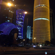 Doha wierd buildings lit up night Doha Qatar Global High Performance visit to the Middle East