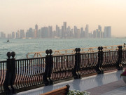 Doha Qatar skyline from the pearl marina Global High Performance visit to the Middle East