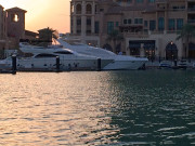 The Pearl Marina luxury yachts sunset Global High Performance visit to the Middle East