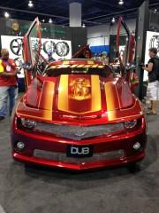 Chevy Camaro Drag car xplizit at Velocity wheels booth SEMA