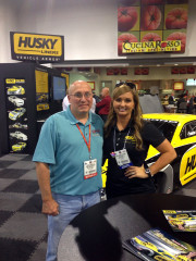 Don Parker and Erica Enders Stevens SEMA 2013 Pro Stock Drag Car Husky booth