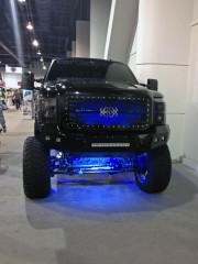 Centex Royalty Core grill Monster truck SEMA 2013 blue Led Ground effects Panama SEMA 2013 GHP