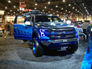 Blue Ford show truck Fab Fours front bumper SEMA 2014 GHP