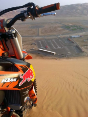 View from atop the Moreeb Dunes with KTM motorcycle in the U.A.E. United Arab Emirates